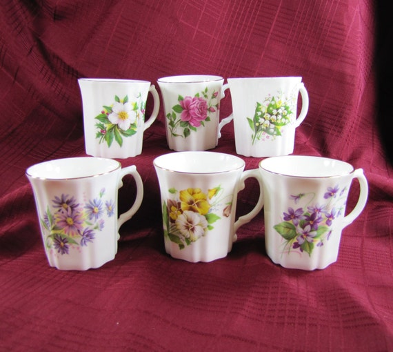 Set of Six Royal Grafton Coffee Mugs- Fine Bone China Made in England- Vintage China- Six different floral patterns