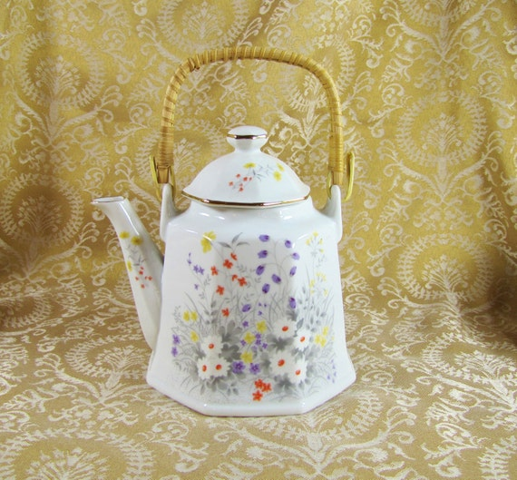 Vintage China Teapot with Rattan Handle and Gold Trim- Wildflower Meadow- Asian Influence