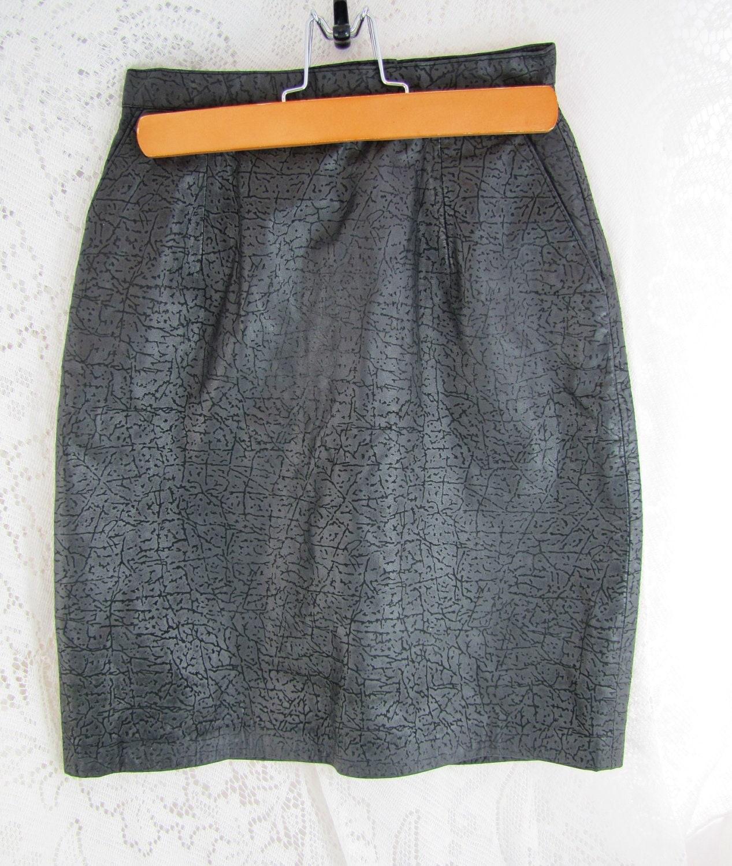 sale vintage leather skirt black textured genuine leather