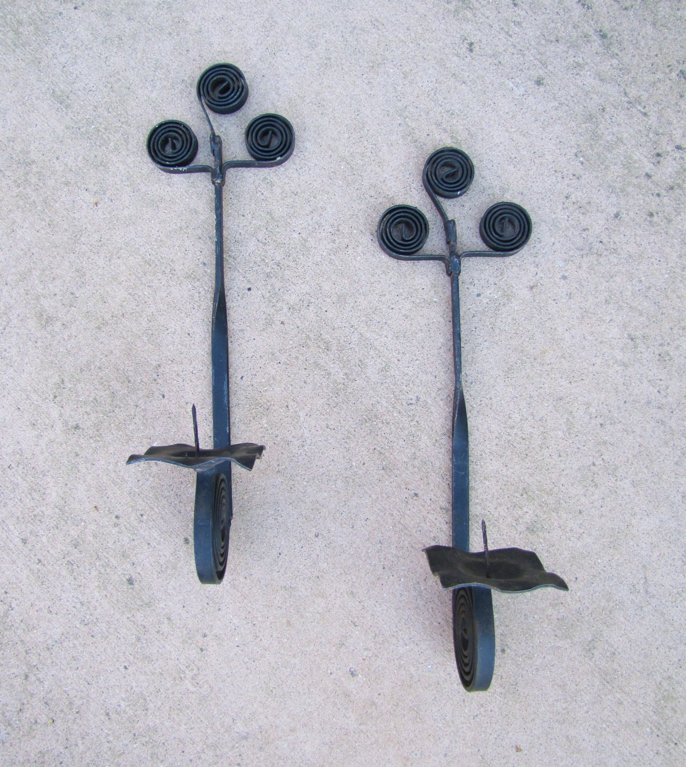 Wrought Iron Wall Sconces Pair Pillar Candle Holders Black