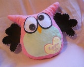 Owl Pillow - Owl Toy - Soft Minky Fabric - Pastels -  Hand Embroidered Name