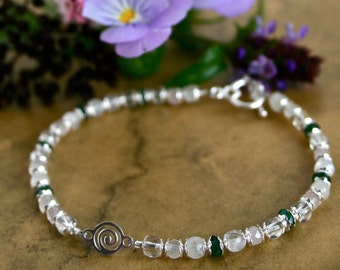 Spiral Fertility Bracelet, Dainty Healing Gemstones, with Conception Meditation