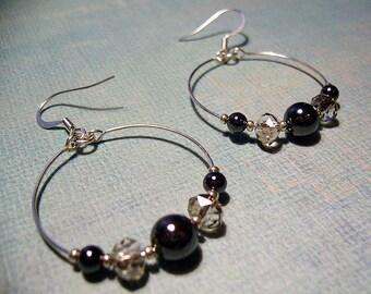SALE: Smoke and Mirrors - Hematite and Smoke Crystal Hoop Earrings