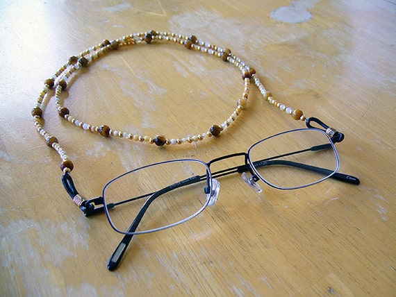 Eye of the Tiger - Yellow Jade and Tiger's Eye Eyeglass Chain