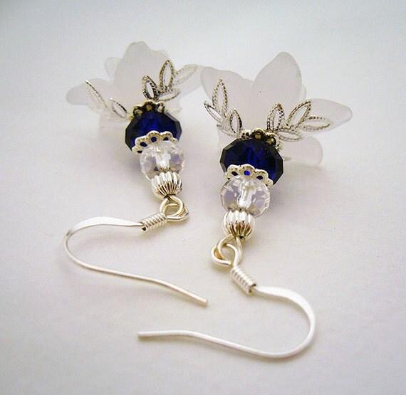 SALE: Snowflowers - Cobalt and Silver Floral Earrings