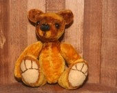 Yellow/Gold Miniature Artist Bear - Sweet rustic gold teddy bear - fits in your pocket - fully jointed vintage velvet mini artist bear