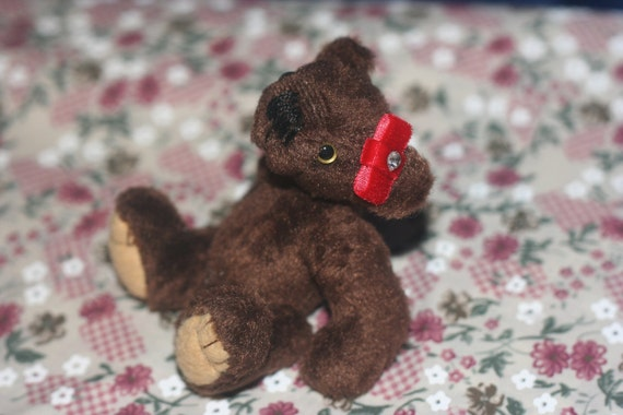 Miniature Brown Artist Bear - Fits in your pocket - jointed teddy - brown bear with red ribbon