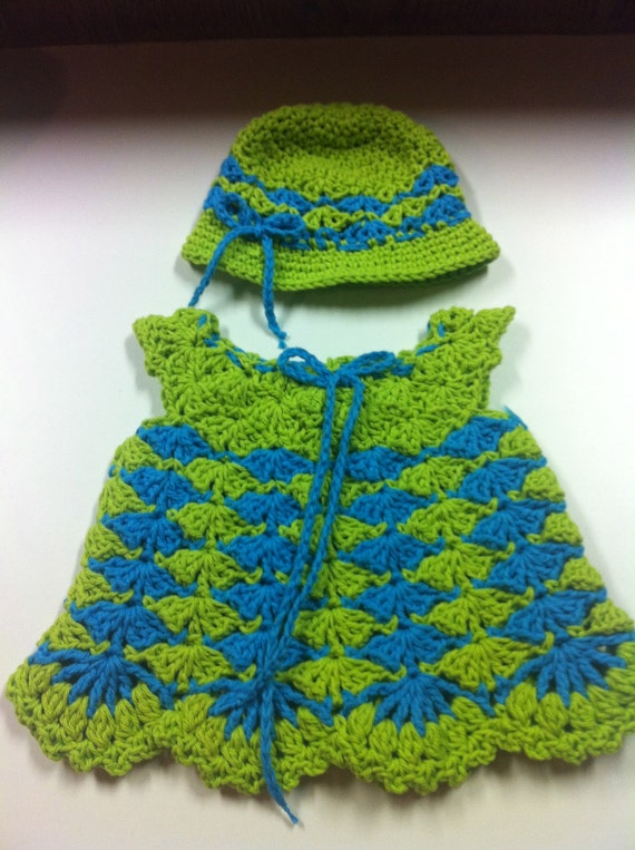 Crochet Baby dress 0 to 3month with matching Sun hat