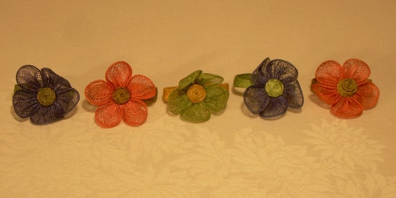 Vintage flower napkin rings