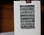1 Hand Printed Pattern Linocut Postcard