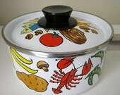 SALE- Vintage Kitsch Cooking Pot and Lid Illustrated