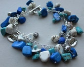Blue, Turquoise, and White Beads  CHARM BRACELET