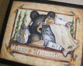 Primitive BATH Sign BEAR NECESSITIES Bathroom Lodge Mary Ann June Decor