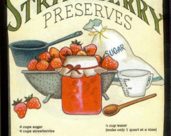 Retro Vintage Primitive STRAWBERRY Preserves Sign Country Kitchen Wood Wall Decor
