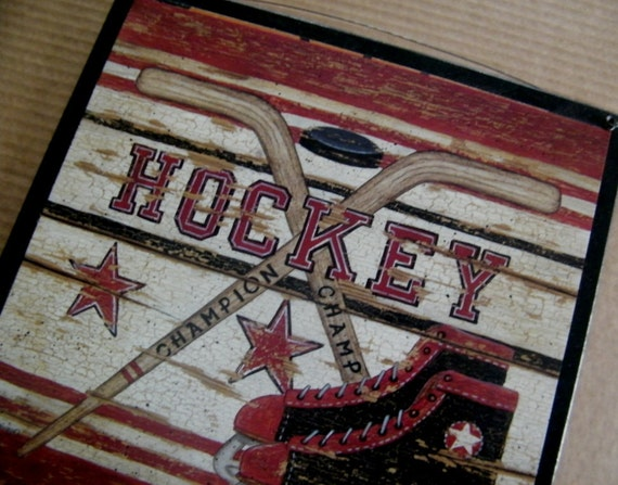 Hockey skate ball sports art wall room sign retro primitive for Vintage basketball wall art