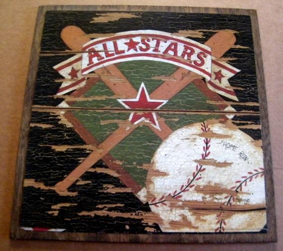 Vintage Baseball Wall Decor : Items similar to baseball bat ball sports art wall vintage