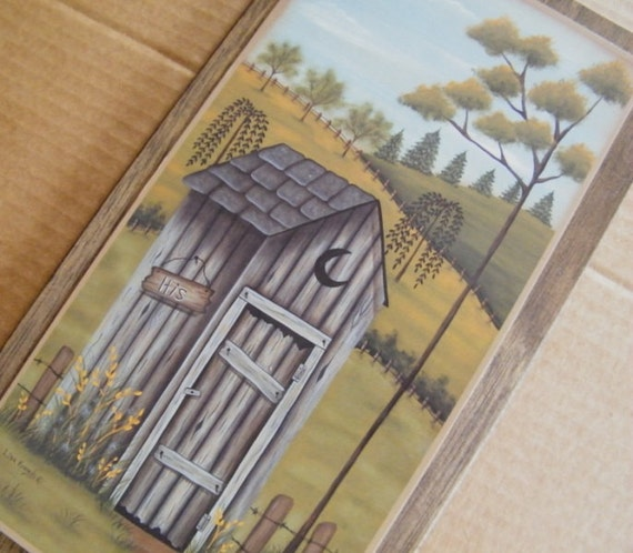 OUTHOUSE HiS Primitive Country Bath Bathroom Wooden Decor Art Sign
