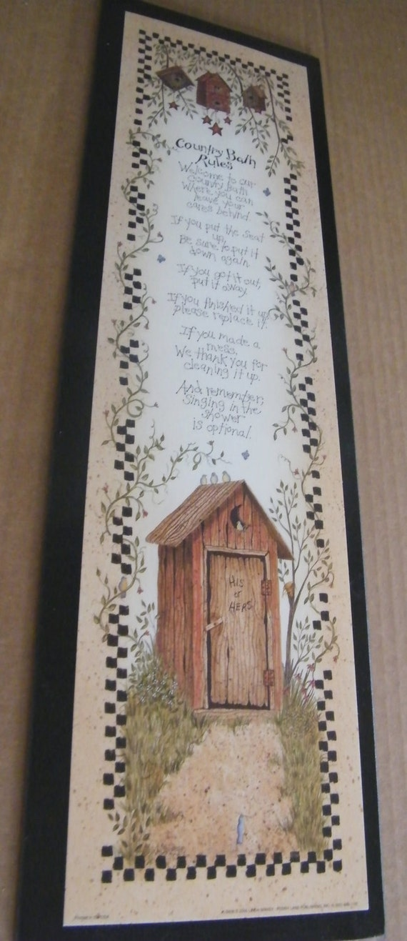 OUTHOUSE RULES Primitive Country Bath Bathroom 6X21 By Carolalden