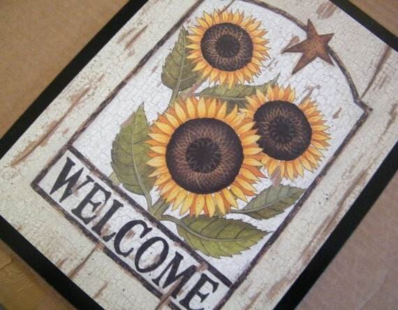 """10x13"""" SUNFLOWER WELCOME  Country Retro Primitive KITCHEN Decor Sign Free Shipping"""