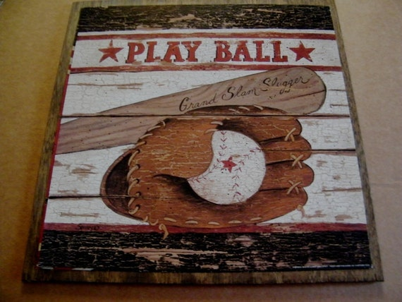 BASEBALL Sports Boy Man Cave PLAY BALL Wall Art Room Sign  Retro Primitive Vintage Country 13x13