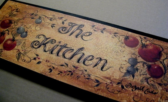 THE KITCHEN  Retro Primitive Vintage  Rooster  Kitchen Sign 7x19 in