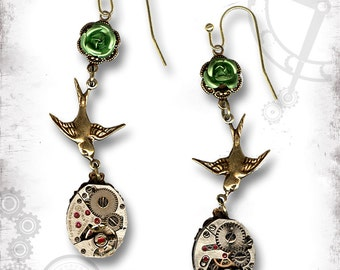 Rose Swallow Golden Steampunk Earrings - Za Dee Da - The Time Traveller Collection - SpringTime in Love Earrings