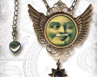 Flying Moon Necklace - Za Dee Da - The Mystic Seeker Collection - U Fly me to the Moon