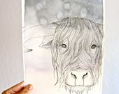 Highland Cow Original Watercolor Painting