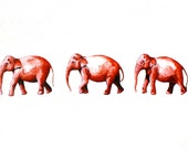 Elephant Watercolor Painting - Archival Print - The Elephant Walk - Archival Print