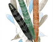 Feather Art Watercolor Painting - Archival Print - Spirit Feathers