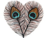 Peacock Feather Heart - Archival Print