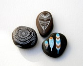 Tree Stump & Feathers - Painted Stone Collection