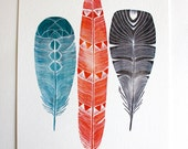 Watercolor Painting - Feather Art - Archival Print - Lhasa Feather Painting