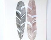 Original Feather Painting - Watercolor Art - Modern Pastel Spring Decor
