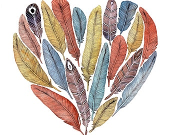 Feather Heart Painting - Watercolor Art - Archival Print - Fiona's Heart