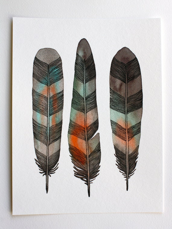 Watercolor Feather Painting - Modern Art - Archival Print - 8x10 Chevron Feathers
