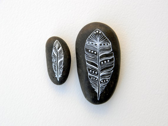 Perfect Pair - Feather Painted Stones