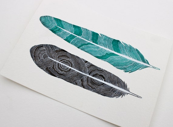 Original Feather Painting - Feather Art Watercolor