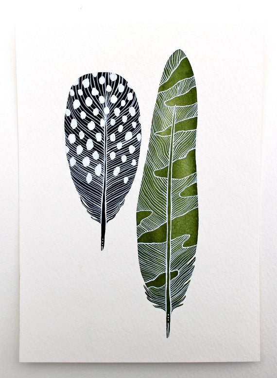 Original Feather Painting Watercolor Art - Modern Decor - Green, Black, White