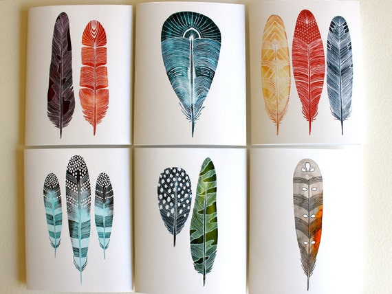 Spring Feather Notecards - Greeting Cards - Art Cards