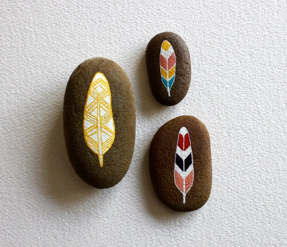Neon Feathers Painted Stone Set - Modern Home Decor