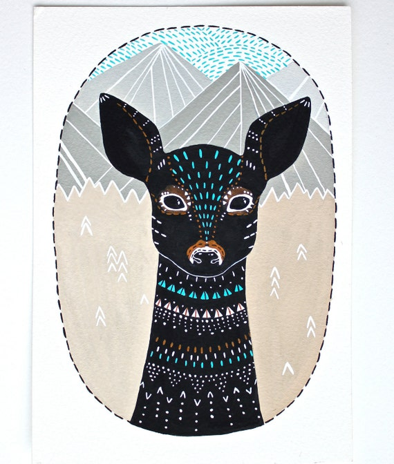 Deer Illustration Painting - Small Archival Print - Little Fawn Masika - Animal Illustrations by Marisa Redondo