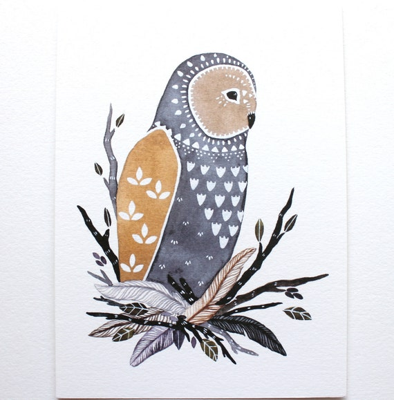 Owl Illustration Art - Watercolor Painting - Archival Print 8x10- Little Owl Manu by Marisa Redondo
