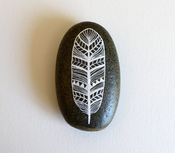 Painted Feather Stone - Handpainted Patterned Feather - River Luna