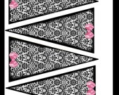 Digital Banner Hanging Wall Decoration Black and White Damask with Pink Bow For Parties or Anytime