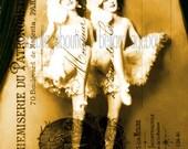 Digital Download Collage Sheet Large Size Vintage Dancers and Postcard UPrint Altered Art Print