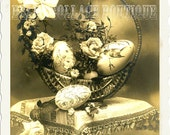 Digital Collage Sheet Instant Download ATC Background or Tag Postcard Vintage French Easter Roses Eggs Basket Sepia