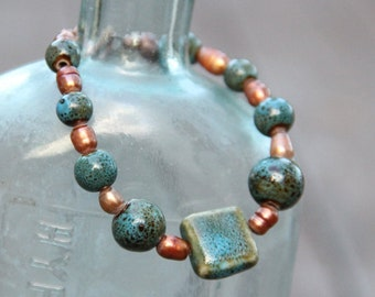 Ceramic Tile & Freshwater Pearl on Copper Bracelet FREE SHIPPING