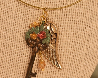 Whimsy Antiqued Brass Charm Neklace - FREE SHIPPING