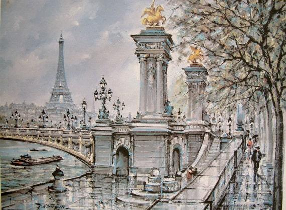 Paris Print Pont Alexandre Iii And Tour Eiffel Mid Century